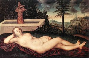Lucas Cranach The Elder - reclining rivière Nymphe  au  au  Fontaine
