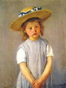 Mary Stevenson Cassatt - fillette dans  grand  paille  chapeau  et  Tablier