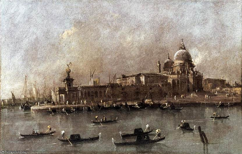 Vue de l entrée du Grand Canal de Francesco Lazzaro Guardi (1712-1793, Italy) | Reproductions D'art De Musée Francesco Lazzaro Guardi | WahooArt.com