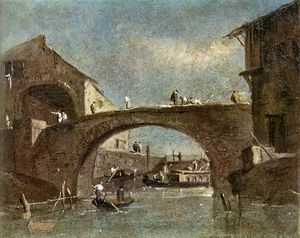 Francesco Lazzaro Guardi - Pont à Dolo