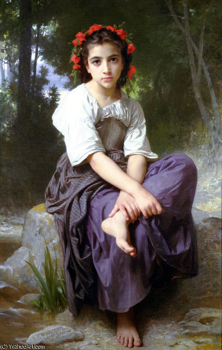 Au bord du ruisseau de William Adolphe Bouguereau (1825-1905, France) | Copie Tableau | WahooArt.com