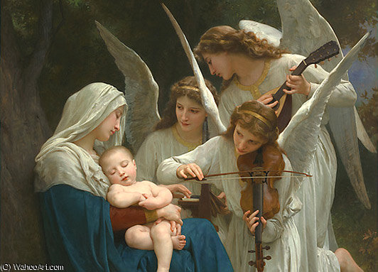 VirginAndAngelsAfterLarge de William Adolphe Bouguereau (1825-1905, France)