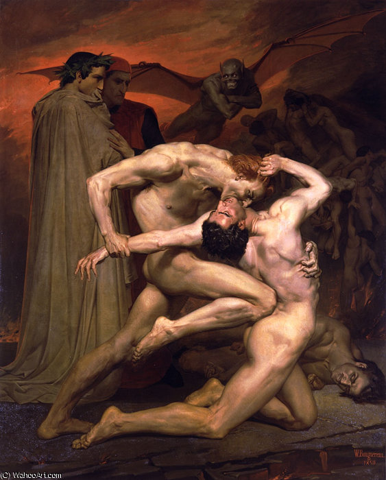 De dante et virgile au enfers de William Adolphe Bouguereau (1825-1905, France) | Reproductions De Qualité Musée | WahooArt.com