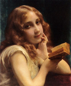 Etienne Adolphe Piot - a peu fille lisant