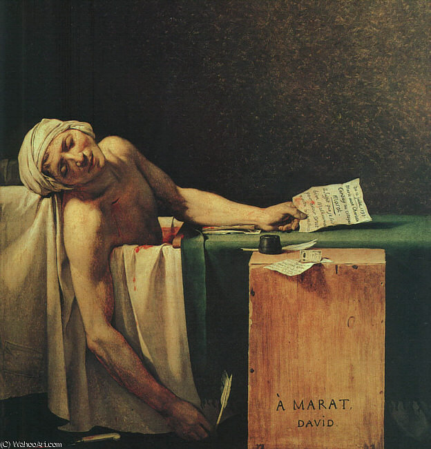 la mort de Marat de Jacques Louis David (1748-1800, France)