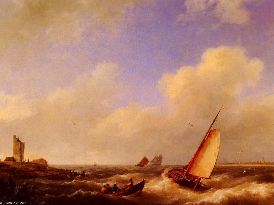 L`escaut at river flessinghe de Johannes Hermanus Koekkoek (1778-1851, Netherlands) | Copie Tableau | WahooArt.com