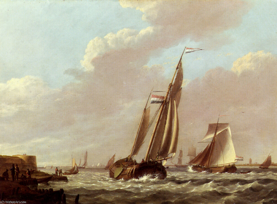 Jan expédition de Hermanus dans un estuaire agitée de Johannes Hermanus Koekkoek (1778-1851, Netherlands) | Reproductions D'art Johannes Hermanus Koekkoek | WahooArt.com