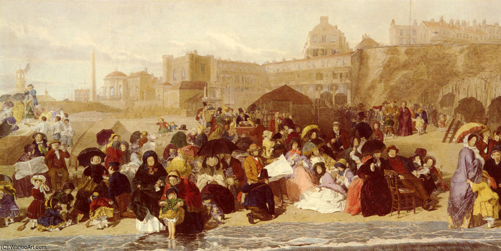 La vie dans les sables balnéaire de Ramsgate de William Powell Frith (1819-1909, United Kingdom) | Reproduction Peinture | WahooArt.com