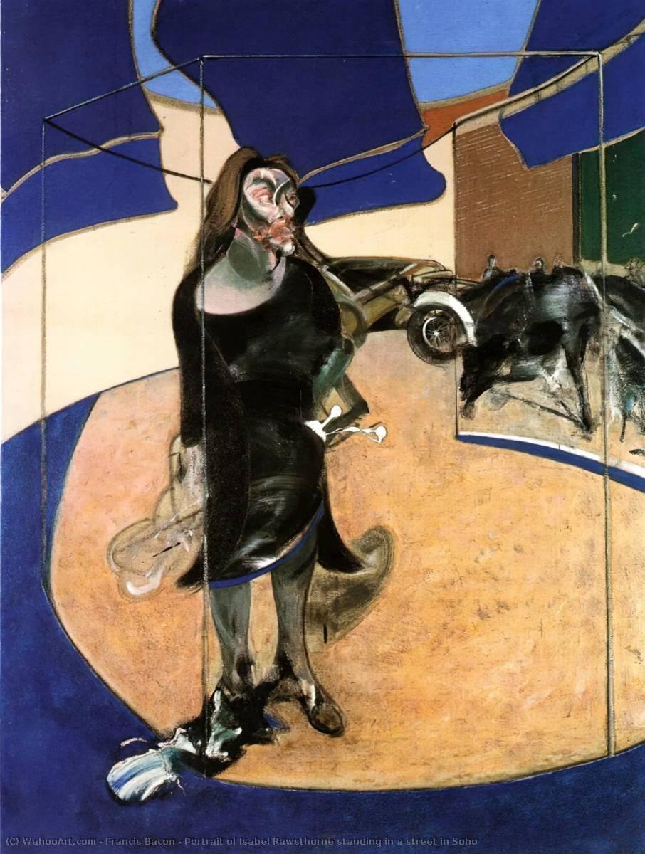 Portrait de isabelle rawsthorne debout une rue dans soho de Francis Bacon (1909-1992, Ireland) |