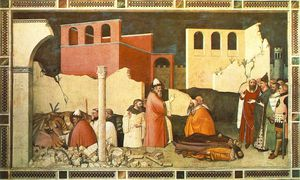 Maso Di Banco - pape st Sylvester's miracle , californie 1340 , Cappella