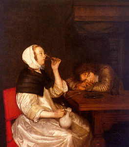 Gerard Ter Borch The Younger - femme potable avec  dormir  soldat
