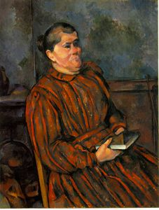 Paul Cezanne - Femme dans red-striped robe , 1892-96 , barnes foundatio