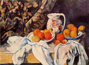 Paul Cezanne - Nature morte with rideau et pichet fleuri , c . 1899 , er