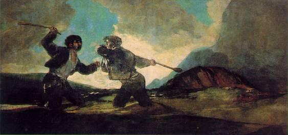 Francisco Goya, Rissa a bastonate.Quando manca l'arbitro imparziale, i duellanti si ammazzano di botte, sprofondando nel fango.