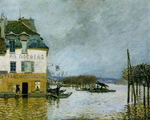 Alfred Sisley - Inondation à Port-Marly , Musée des beaux -