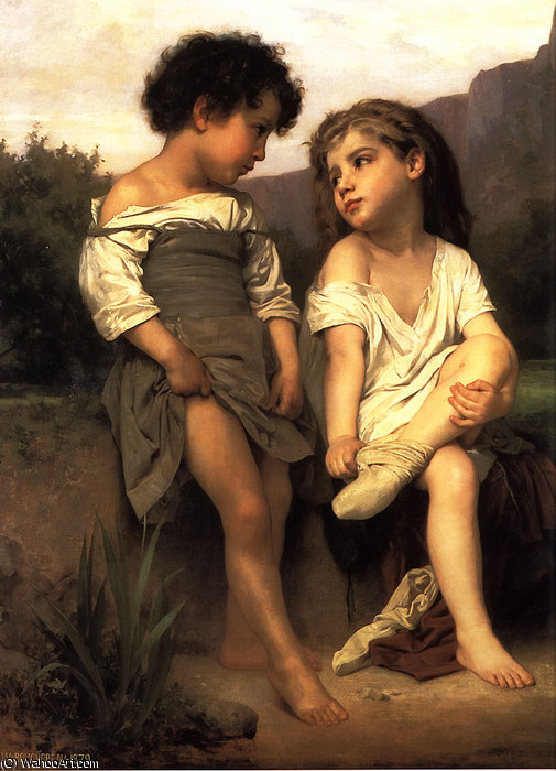à l' de bord le `brook` de William Adolphe Bouguereau (1825-1905, France)