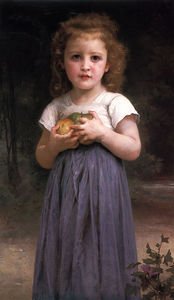 William Adolphe Bouguereau - fillette la tenue  pommes  dans  elle  mains