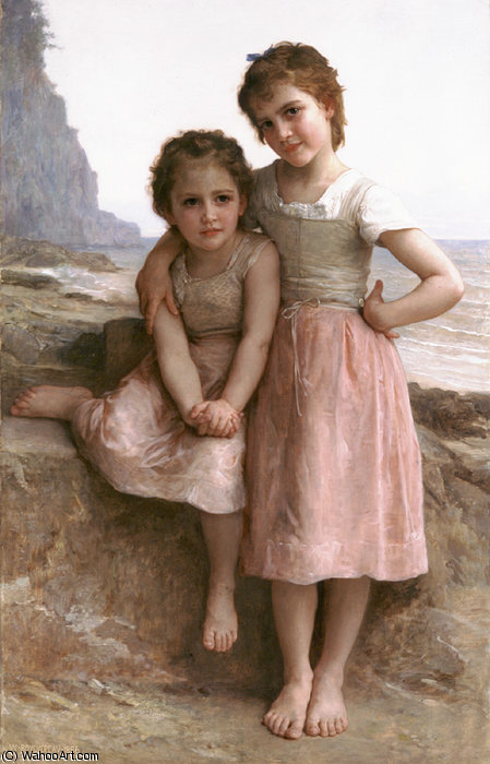 sur l rocheux  plage  de William Adolphe Bouguereau (1825-1905, France) | Copie Tableau | WahooArt.com