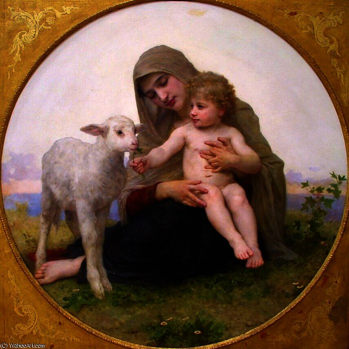 Vierge et d agneau de William Adolphe Bouguereau (1825-1905, France)