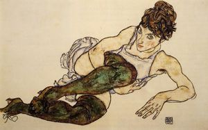 Egon Schiele - inclinable femme avec green Bas ( adele harms )