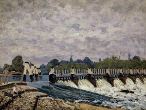 Alfred Sisley - Molesey barrage - matin