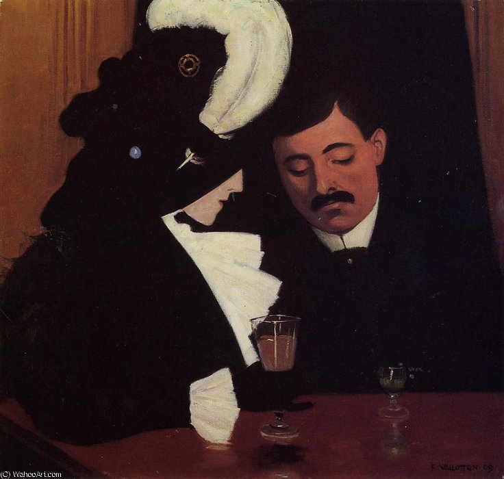 à l` café ( le provincial ) de Felix Vallotton (1865-1925, Switzerland) | Copie Tableau | WahooArt.com