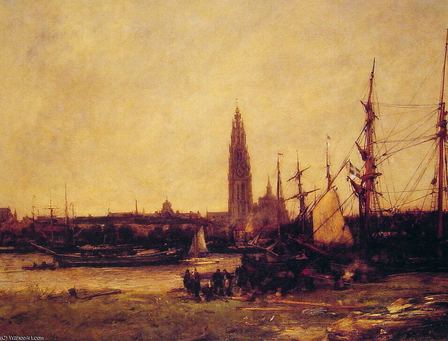 vue d Anvers  de Antoine Vollon (1833-1900, France)