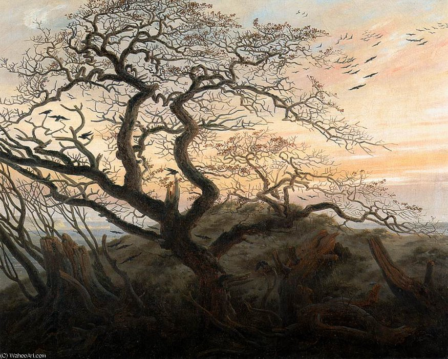 arbre de corneilles , 1821 de Caspar David Friedrich (1774-1840, Germany)