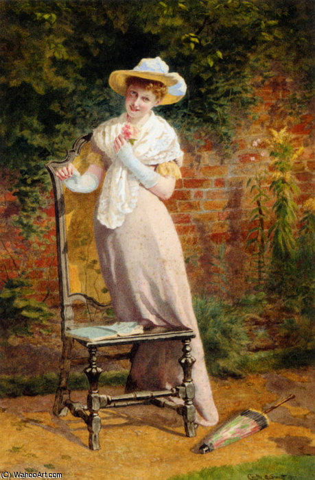 Dans le jardin de Carlton Alfred Smith (1853-1946, United Kingdom) | Reproductions D'art Sur Toile | WahooArt.com