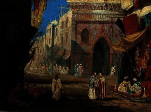 William James Muller - Une rue au Caire Egypte