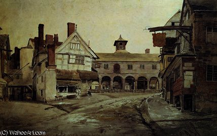 Marché lieu , hereford ,, 1803 de Cornelius Varley (1781-1873, United Kingdom)