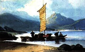 George Chinnery - Bateau avec Jaunit  voile  chine