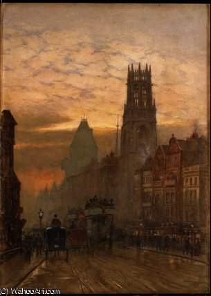 fleet street par temple bar de Herbert Menzies Marshall (1841-1913, United Kingdom) | Copie Tableau | WahooArt.com