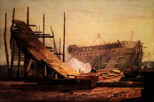 Achat Reproductions D'art | Une Chantier naval au Blackwall de Samuel Prout (1798-1863, United Kingdom) | WahooArt.com
