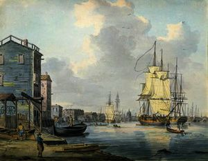 Achat Reproductions D'art Sur Toile : la tamise au Rotherhithe ,, 1790 de William Anderson (1757-1837, United Kingdom) | WahooArt.com