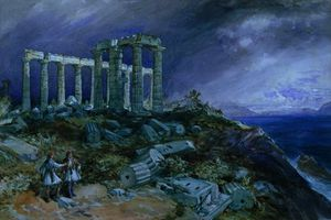 William Simpson - le temple de  Poséidon  Sounion