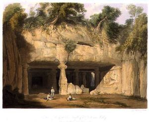 William Westall - Extérieur les grands Caverne Temple de Elephanta