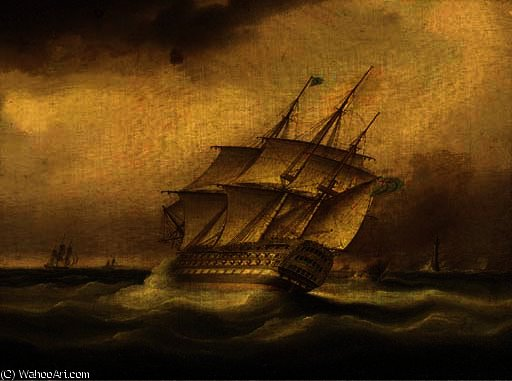 Une royaux navale premier talonnage taux dans le vent du de la phare d eddystone de Thomas Buttersworth (1768-1842, United Kingdom) | Reproductions De Peintures Thomas Buttersworth | WahooArt.com