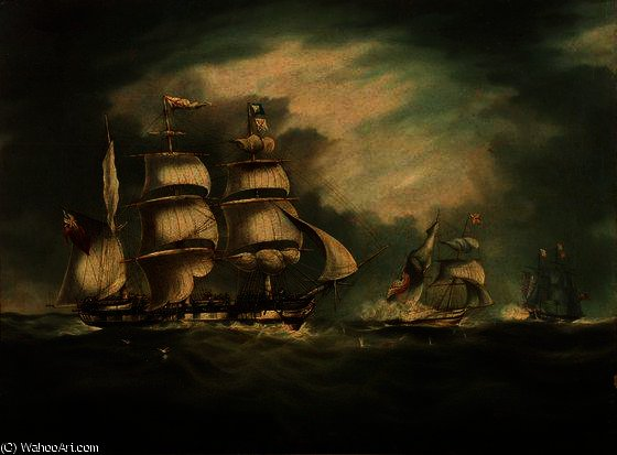 HMS Belle Poule, HMS Hermes, et Gipsy de Thomas Buttersworth (1768-1842, United Kingdom) | Reproductions D'art Thomas Buttersworth | WahooArt.com