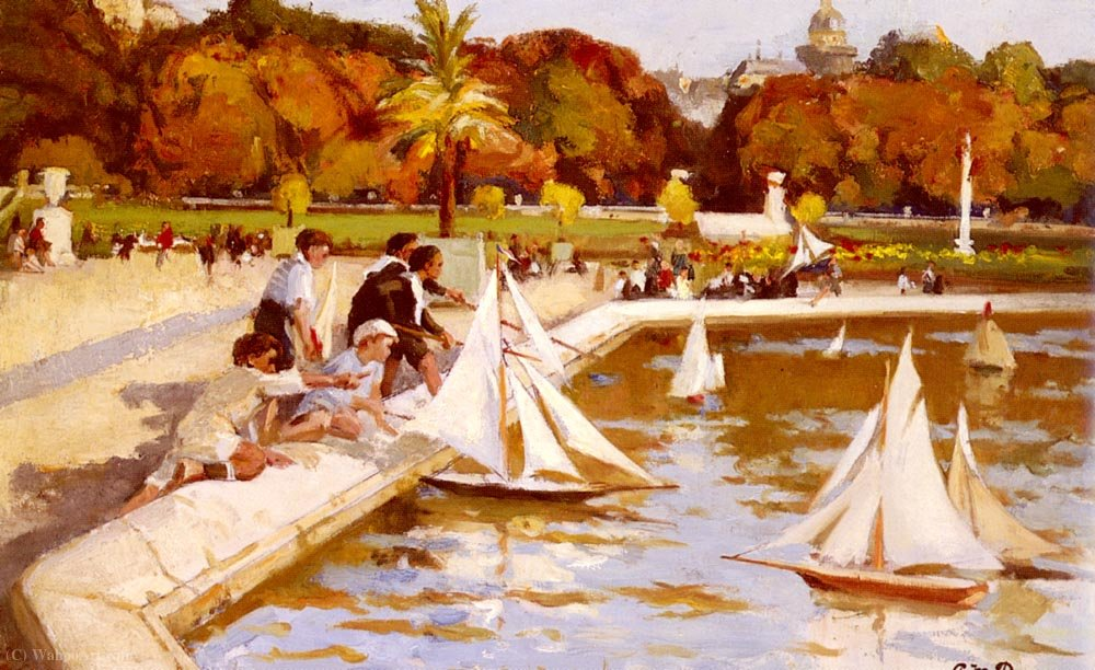 Enfants voile leurs bateaux dans le luxembourg jardins - Jardin du luxembourg enfant ...
