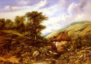 Frederick Waters (William) Watts - Un moulin à augets dans une vallée boisée