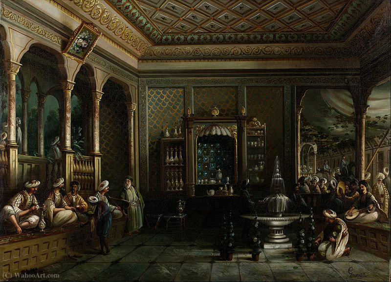 A House Café dans Tophane de Thomas Allom (1804-1872, United Kingdom)