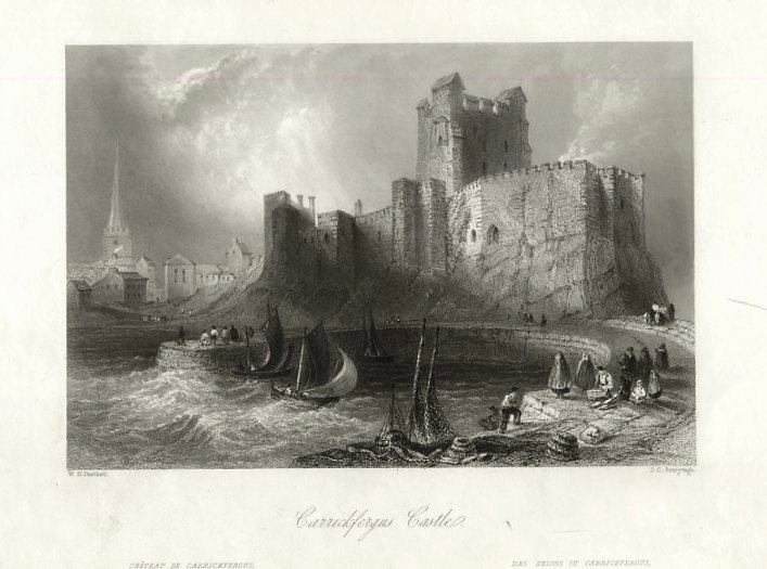 Château Carrickfergus de Thomas Allom (1804-1872, United Kingdom)