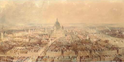 Vue d' londres de l clocher de st bride's église , rue flotte regardant vers st paul's cathédrale de Thomas Allom (1804-1872, United Kingdom)