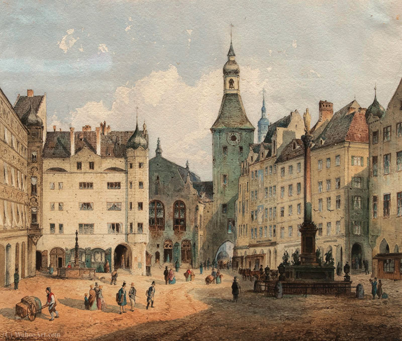 La Marienplatz à Munich de Anton Doll (1826-1887, Germany)
