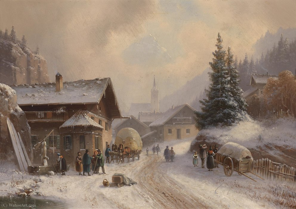 village route dans  Hivernal  de Anton Doll (1826-1887, Germany) | WahooArt.com