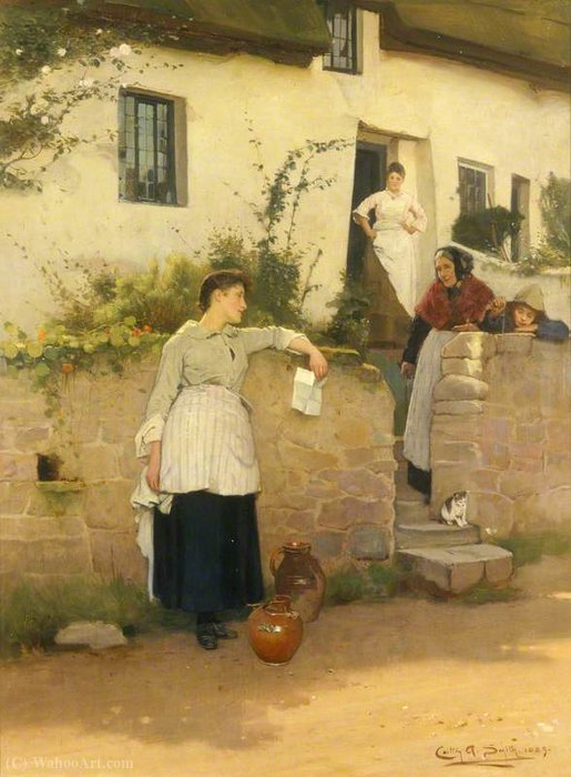 Potins Neighbourly de Carlton Alfred Smith (1853-1946, United Kingdom) | Reproductions D'œuvres D'art Carlton Alfred Smith | WahooArt.com