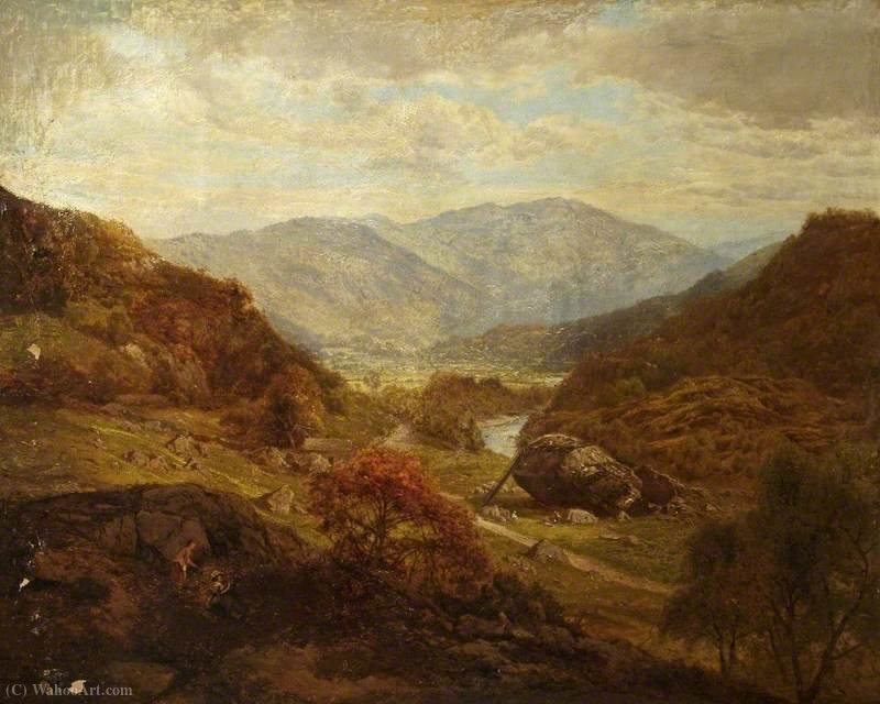 Bowder pierre près de Keswick, Cumbria de Edward Henry Holder (1847-1922, United Kingdom) | Reproductions De Qualité Musée | WahooArt.com