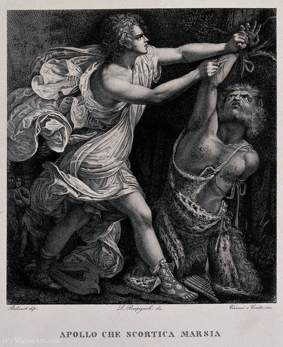 Apollo écorcher Marsyas de Giovanni Bilivert (1585-1644, Italy) | Reproduction Peinture | WahooArt.com