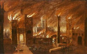 Jan Griffier - Le Grand Incendie de Londres, (1666)